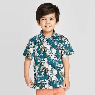 Toddler Boys' Short Sleeve Tropical Printed Woven Button-Down Shirt - art class™ Teal 3T