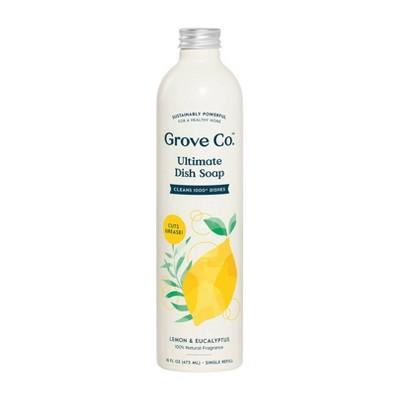 Grove Co. Ultimate Dish Soap Refill in Aluminum Bottle - Lemon & Eucalyptus - 16 fl oz