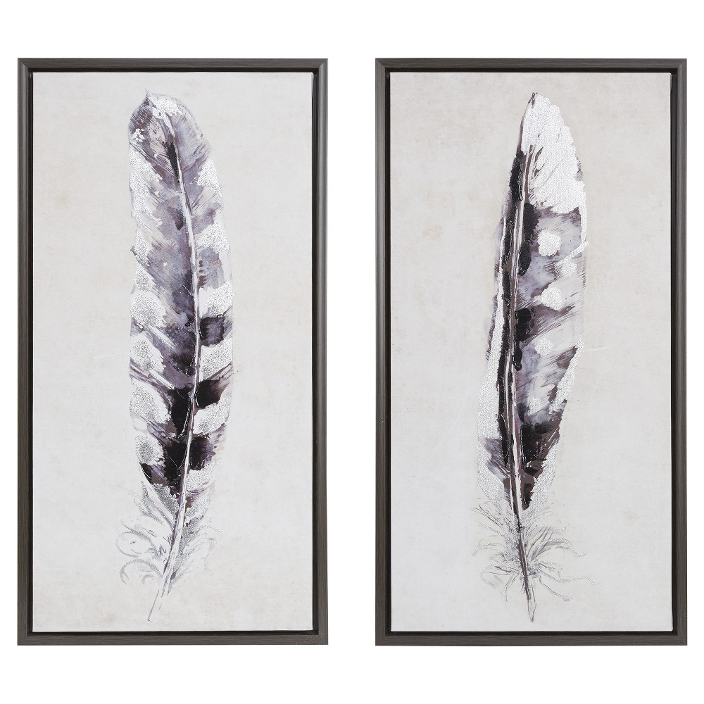Set Of 2 31 5 34 X 16 5 34 Flight Feathers Framed Gel Coat Canvas Gray
