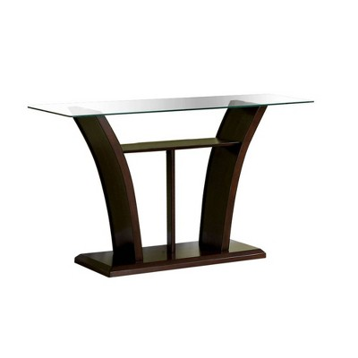 Mellie Modern Flared Glass Top Sofa Table Dark Cherry - HOMES: Inside + Out