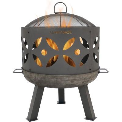 """Retro 26"""" Cast Iron Wood Burning Fire Pit Bowl - Round - Sunnydaze Decor"""