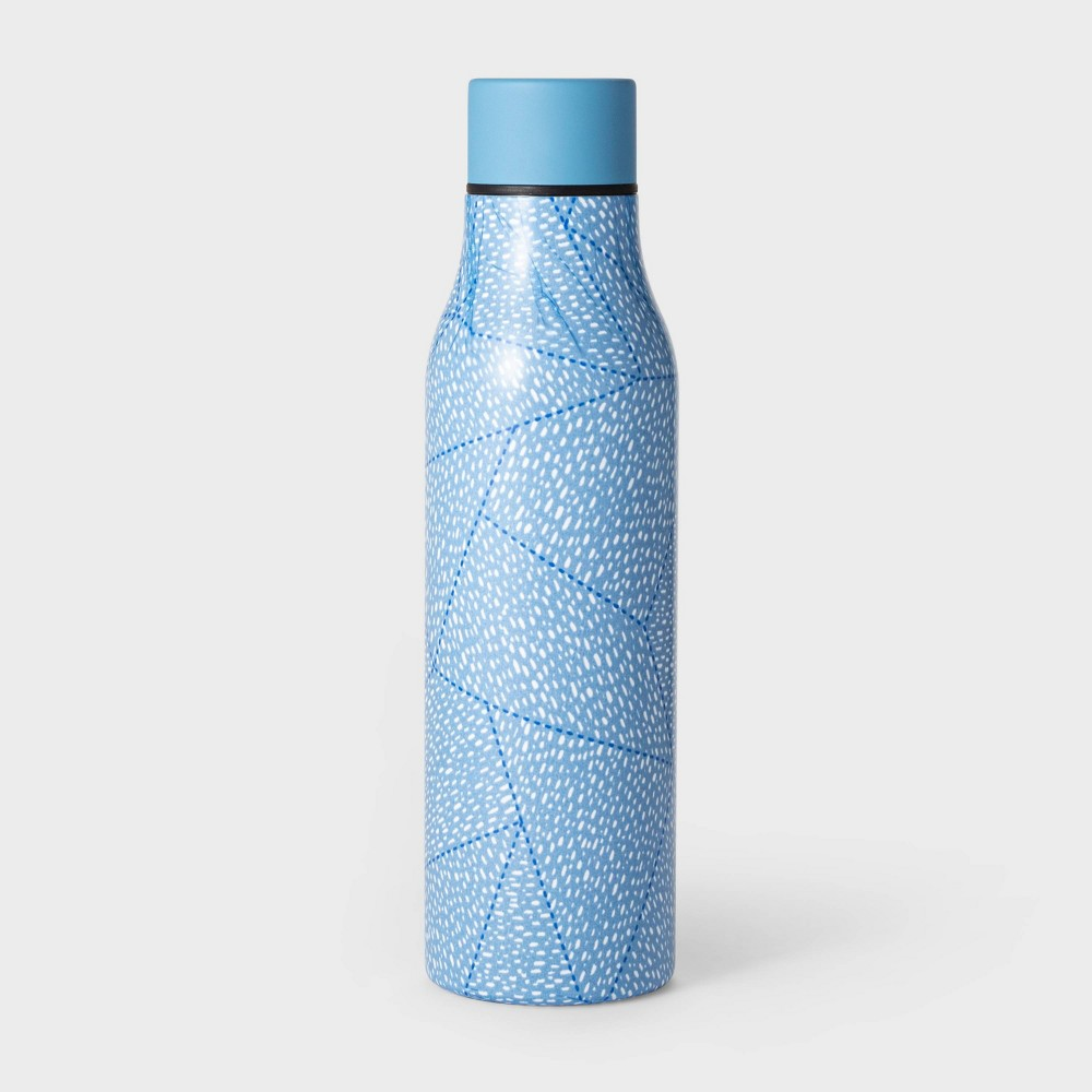 20oz Double Wall Stainless Steel Vacuum Water Bottle Quilt Dashes Blue - Room Essentials