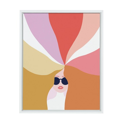 """18"""" x 24"""" Sylvie Rainbow Girl Framed Canvas Wall Art by Dominique Vari White - Kate and Laurel - image 1 of 4"""