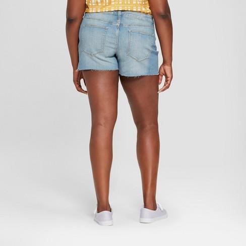 9ff887d2b33d5 Women s Plus Size Raw Hem Midi Jean Shorts - Universal Thread™ Medium Wash