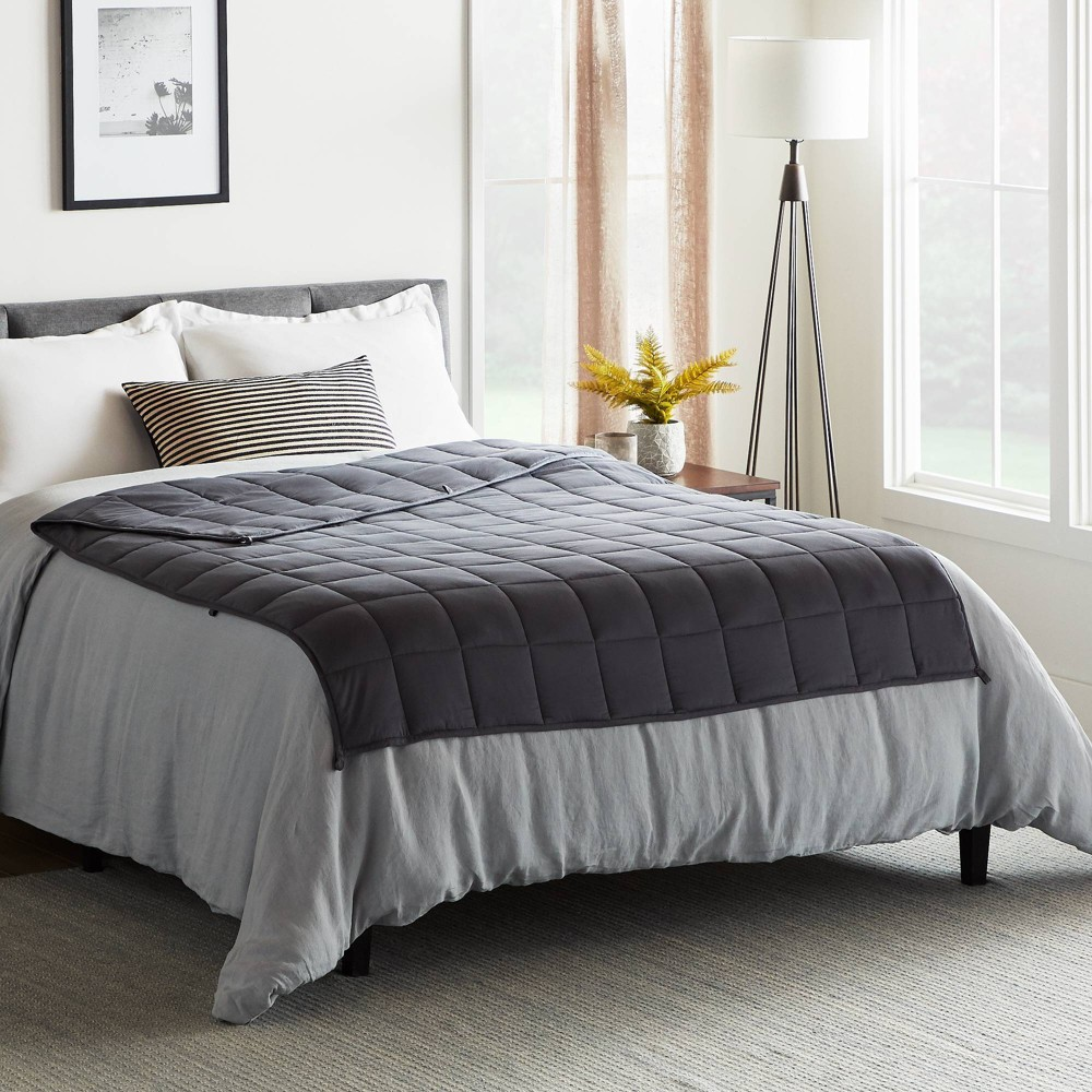 "Image of ""60"""" x 80"""" Comfort Collection 15lbs Weighted Bed Blanket Gray - Lucid"""