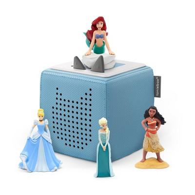 Disney Toniebox Starter Set Light Blue with Tonies Elsa, Moana, Cinderella, and Little Mermaid Figurines Bundle
