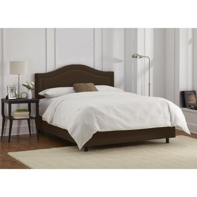 Skyline Furniture Merion Inset Nailbutton Bed - Chocolate (Cal King) - Skyline Furniture , Size: California King, Brown