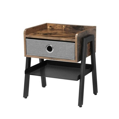 Wooden Nightstand with Fabric Removable Drawer and Metal Mesh Shelf Brown/Black - Benzara
