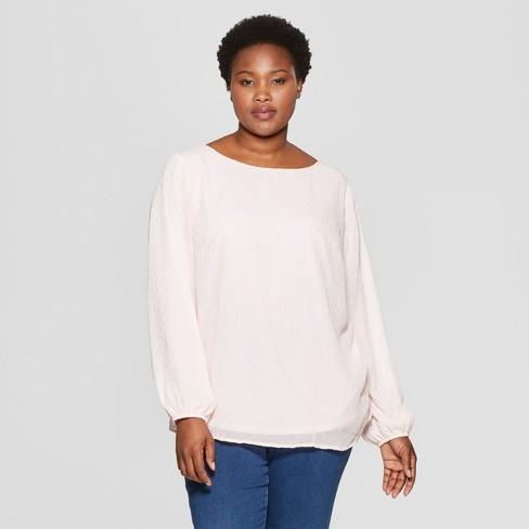 797b8f3913f Women s Plus Size Long Sleeve Chiffon Blouse with Cami - Ava   Viv™ Light  Pink