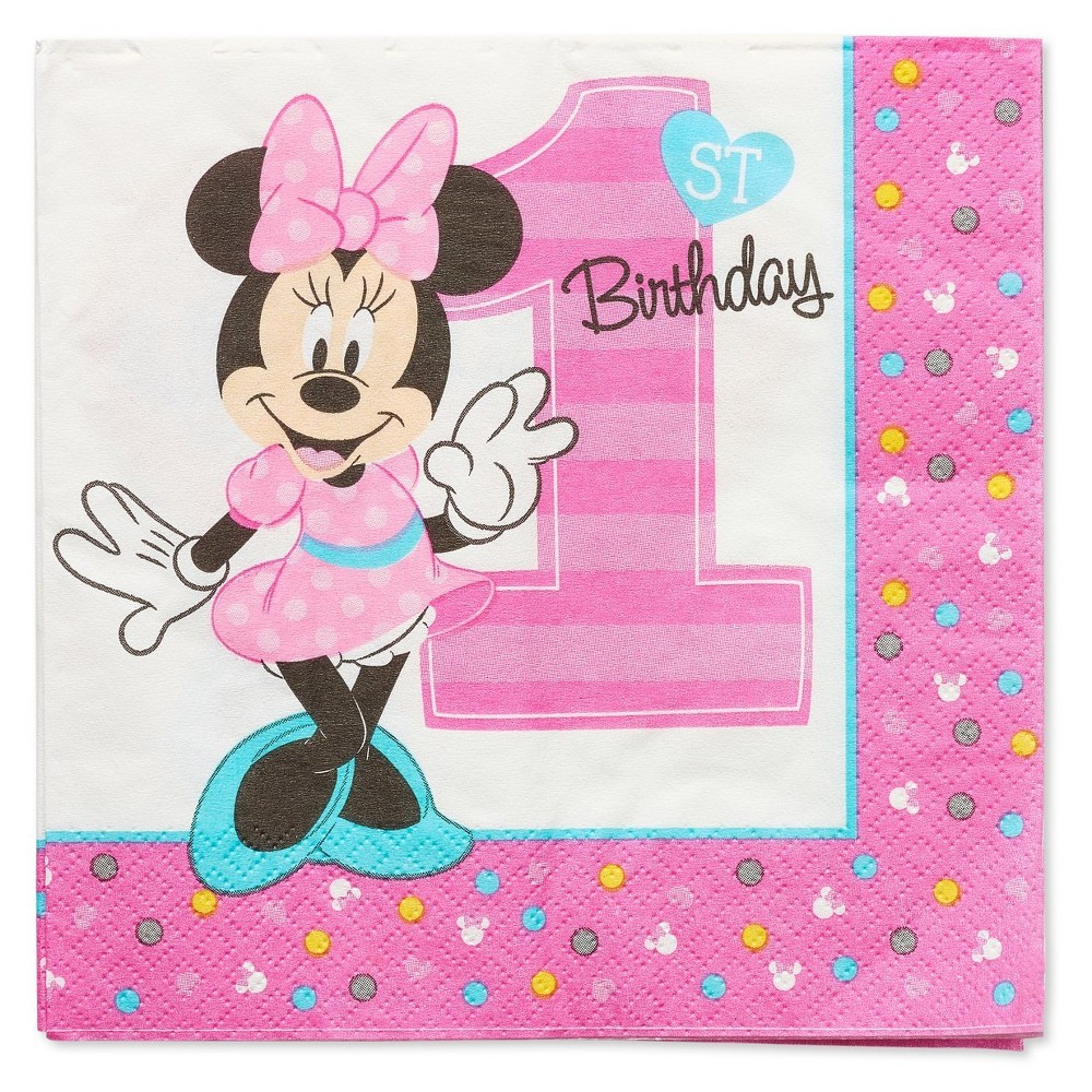 Image of 16ct Minnie Mouse 1st Birthday Lunch Napkins