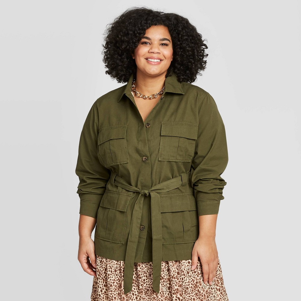 Women's Plus Size Utility Trucker Jacket - A New Day Olive 3X, Women's, Size: 3XL, Green was $34.99 now $24.49 (30.0% off)