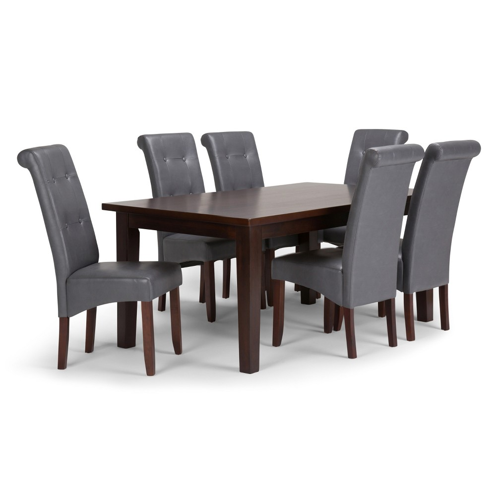 Essex Solid Hardwood 7pc Dining Set Stone Gray - Wyndenhall