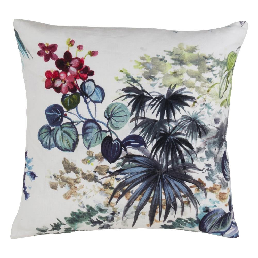 Tropical Linen Oversize Square Throw Pillow - Saro Lifestyle, Multi-Colored