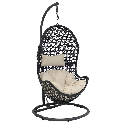 Cordelia Resin Wicker Hanging Egg Chair with Steel Stand and Beige Cushions - Sunnydaze Decor
