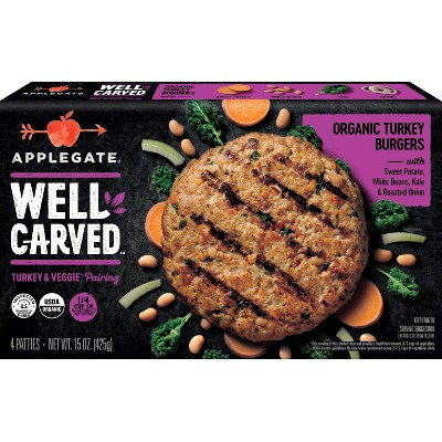Applegate Well Carved Organic Turkey & Vegetable Burgers - Frozen - 15oz