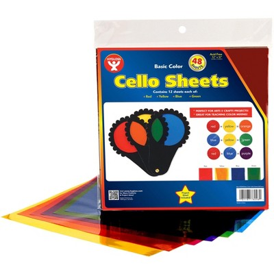 Hygloss Cello Sheets, 12 x 12 Inches, Assorted Colors, pk of 48