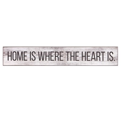 6 x36  Home Is Where the Heart Is Wood Wall Art Gray - Patton Wall Decor