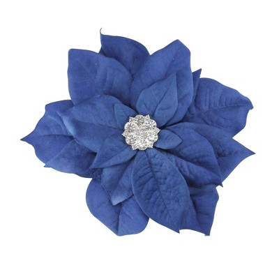"Allstate Floral 6"" Velvet Poinsettia With Sparkling Center Clip On Christmas Ornament   Blue by On Christmas Ornament"