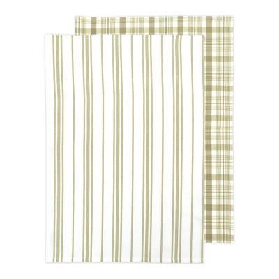 2pk Farmhouse Check Print Kitchen Towel Khaki - MU Kitchen