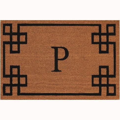 "Nourison Elegant Entry ""P"" Natural Doormat EECMP 2' x 3' - image 1 of 1"