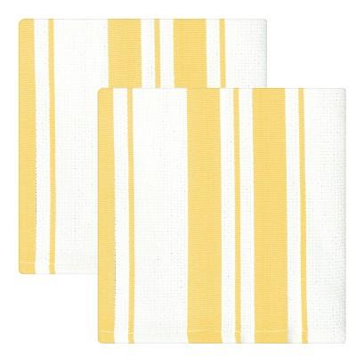 """13""""x13"""" 2pk Cotton Stripe Kitchen Towel Yellow - MUkitchen"""