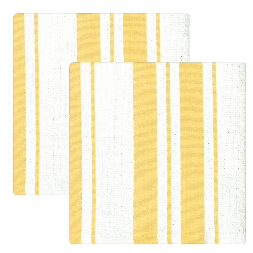"Image of ""13""""x13"""" 2pk Cotton Stripe Kitchen Towel Yellow - MUkitchen"""