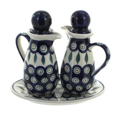 Blue Rose Polish Pottery Peacock Oil & Vinegar Set
