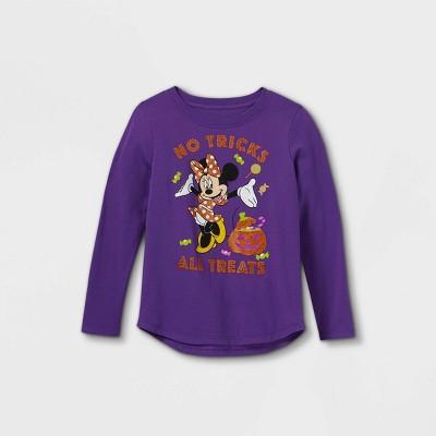 Girls' Minnie Mouse No Tricks All Treats Long Sleeve Graphic T-Shirt - Purple