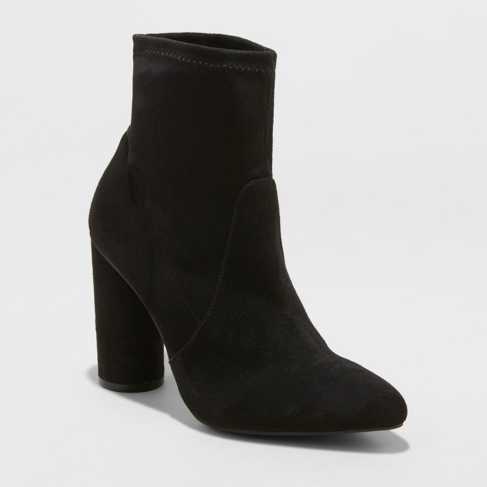 Women's Norma Microsuede Wide Width Cylinder Heeled Bootie - A New Day Black 5.5W, Size: 5.5 Wide