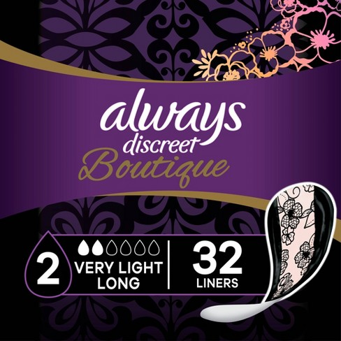 Always Discreet Boutique Incontinence and Postpartum Liners - Very Light Absorbency - Long Length - 32ct - image 1 of 4