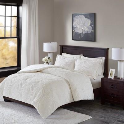 Ivory Alivia Ultra Plush Comforter Mini Set Full/Queen