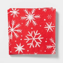 20ct Snowflake Disposable Lunch Napkin Red and White - Wondershop™