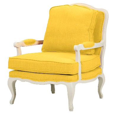 Charmant Antoinette Classic Antiqued Fabric French Accent Chair Yellow   Baxton  Studio