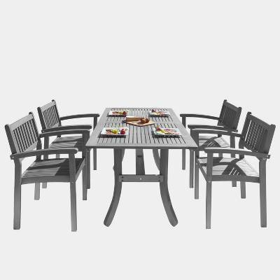Renaissance Outdoor Patio Hand-Scraped Wood 5pc Dining Set with Stacking Chairs