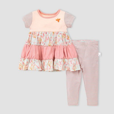 Burt's Bees Baby® Baby Girls' Organic Cotton Wild Flower Tunic and Leggings Set - Pink 3M
