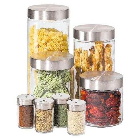 Oggi 8 Piece Round Airtight Glass Canister and Spice Jar Set with Stainless Steel Lids - image 1 of 1