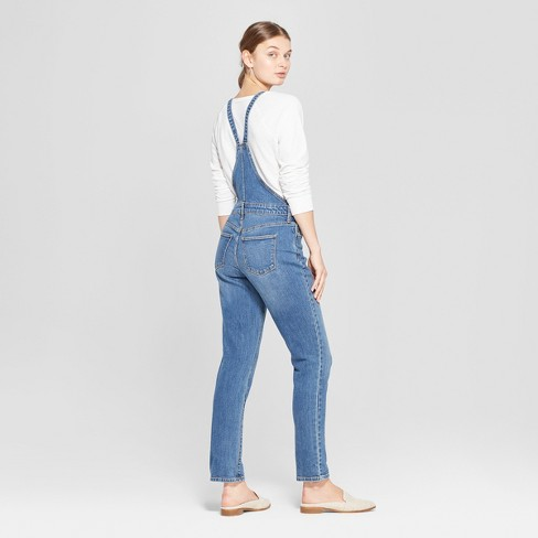 525d25e85a71 Women s Mid-Rise Straight Leg Denim Overalls - Universal Thread™ Medium Wash