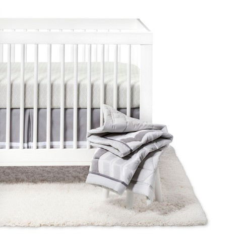 Crib Bedding Set Chevron 4pc - Cloud Island™ Gray - image 1 of 4