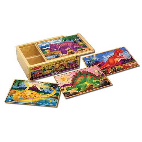 Melissa & Doug® Dinosaurs 4-in-1 Wooden Jigsaw Puzzles in a Storage Box (48pc) - image 1 of 4