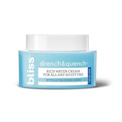 bliss Drench & Quench For Dry Skin Rich Water Cream For All-Day Moisture - 1.7oz