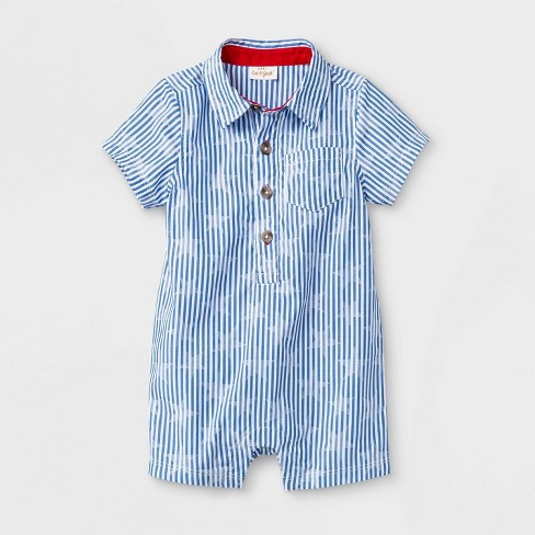 Baby Boys' Woven Short Romper - Cat & Jack™ Blue - image 1 of 1