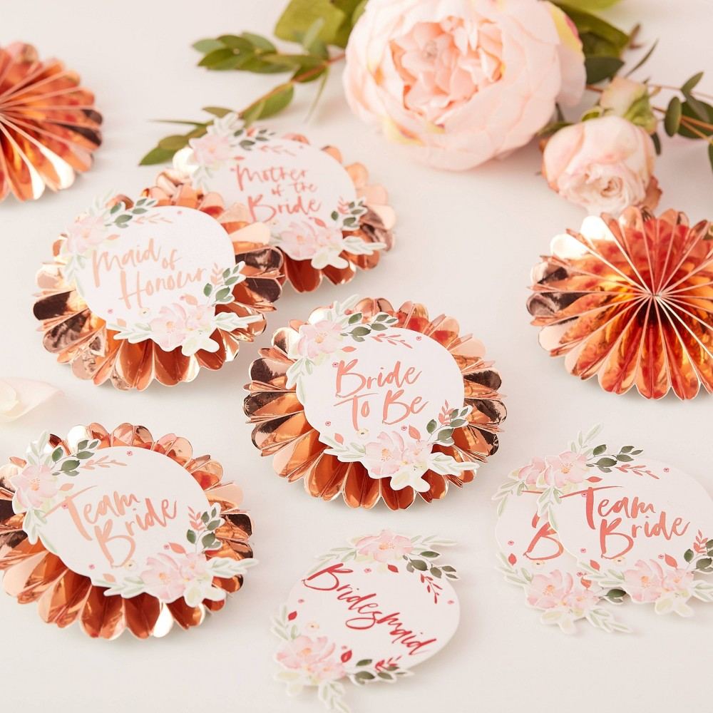 "Image of ""6 Pin """"Bride To Be"""" Party Badges With Stickers"""
