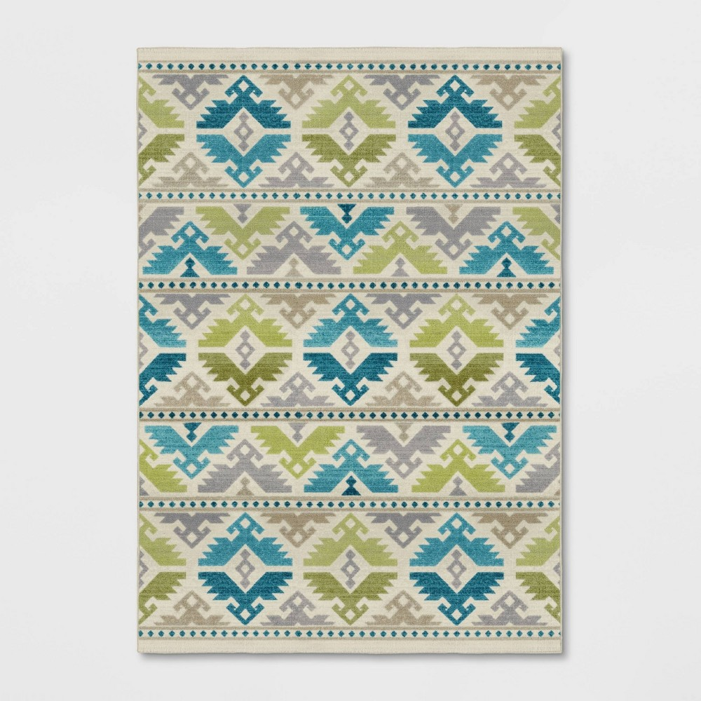 7'X10' Tribal Design Tufted Area Rug Turquoise - Opalhouse
