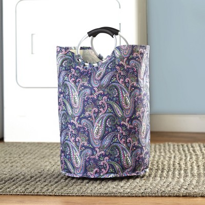 Lakeside Canvas Laundry Tote with Jumbo Padded Grip Handles