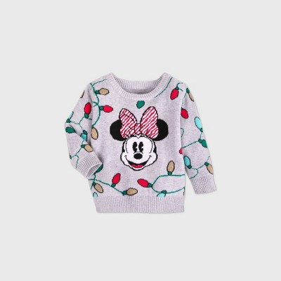 Girls' Disney Minnie Mouse Sweater - Gray - Disney Store