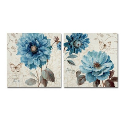"19.56""x26"" Lisa Audit 'A Blue Note' 2 Panel Decorative Wall Art set - Trademark Fine Art"