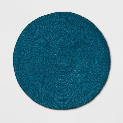 5' Round Solid Braided Jute Area Rug Teal Blue - Opalhouse™