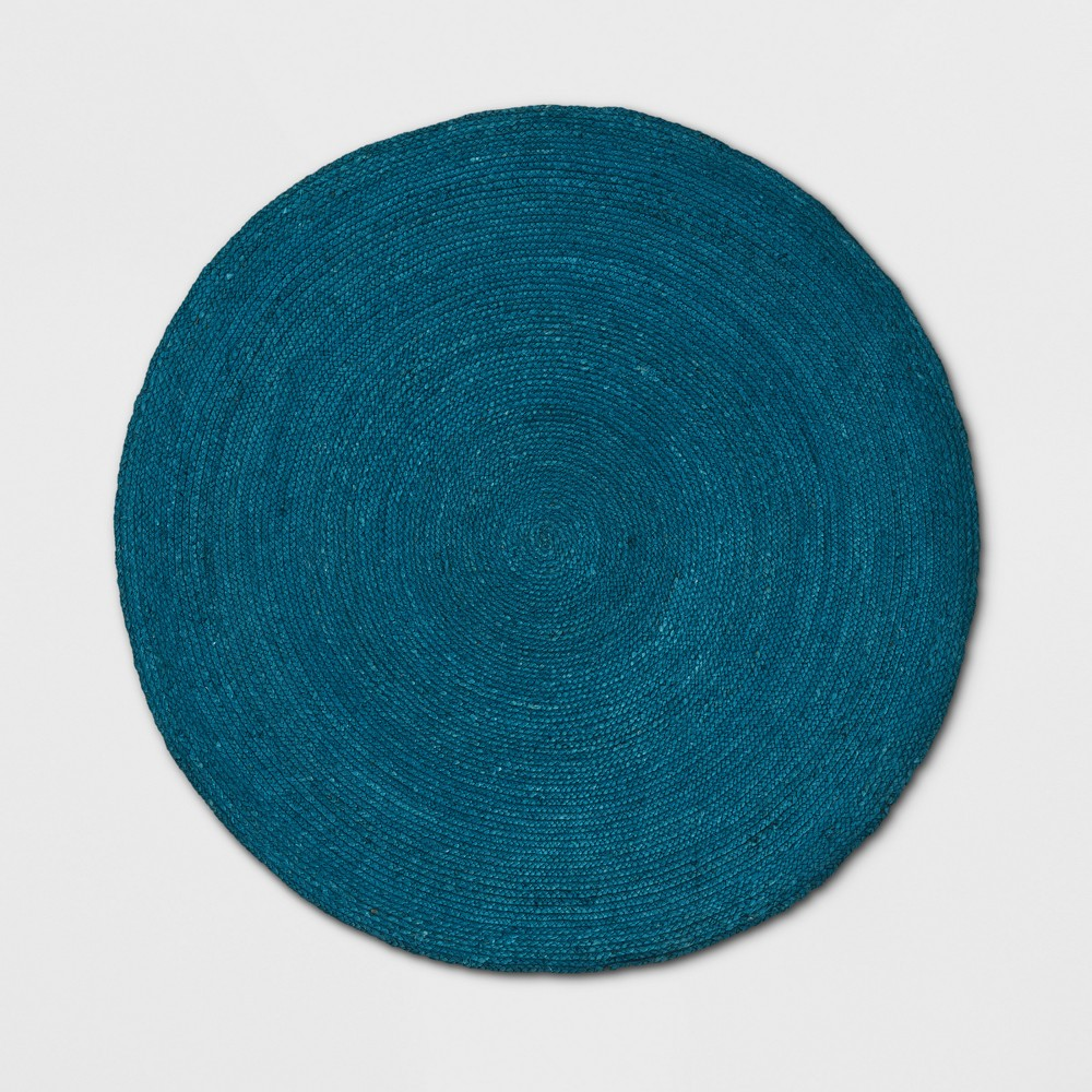 5' Round Solid Braided Jute Area Rug Teal Blue - Opalhouse was $89.99 now $44.99 (50.0% off)