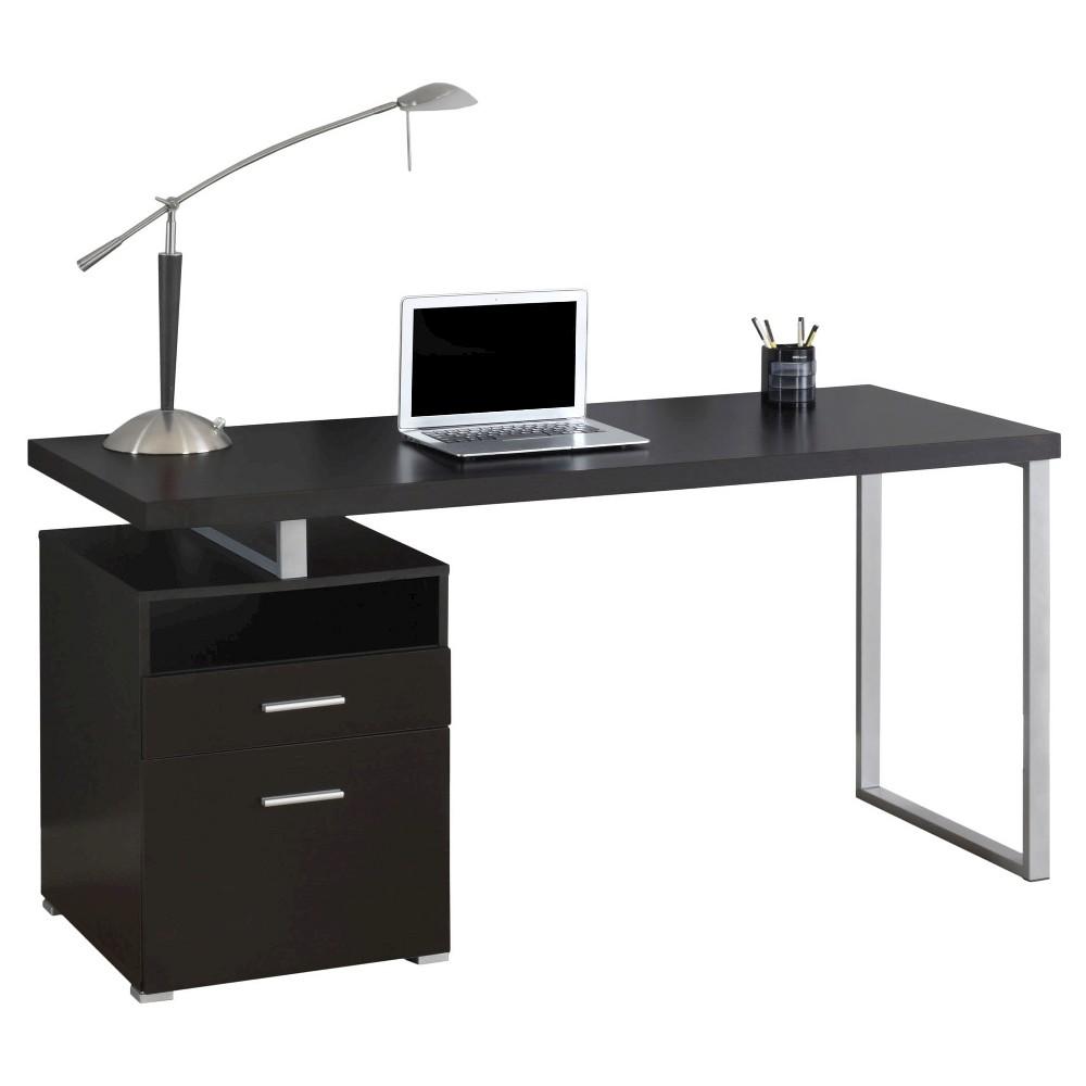 Computer Desk - Silver Metal & Cappuccino - EveryRoom
