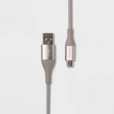 heyday™ 6' Micro-USB to USB-A Round Cable - Cool Gray/Silver